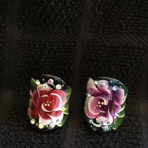 Jewelry - 🌺2 Hand painted rings and 1 bracelet.